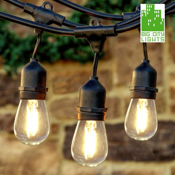 outdoor string lights weatherproof with vintage led edsion bulbs big city lights. Black Bedroom Furniture Sets. Home Design Ideas