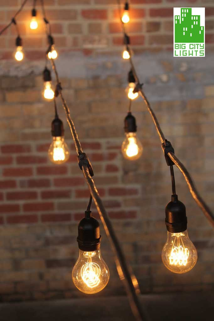 Outdoor String Lights Weatherproof With Vintage Led Edsion Bulbs